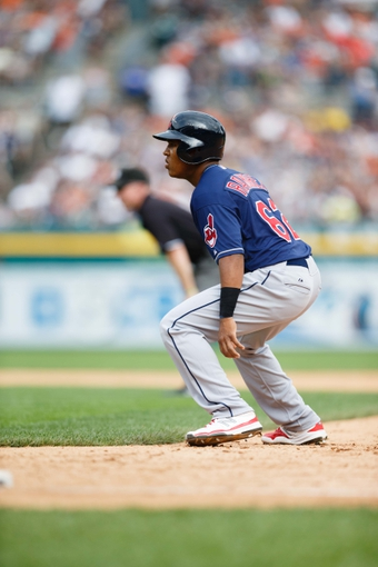 Sep 1, 2013; Detroit, MI, USA; Cleveland Indians Jose Ramirez (63) leads off first base against the Detroit Tigers at Comerica Park. Mandatory Credit: Rick Osentoski-USA TODAY Sports