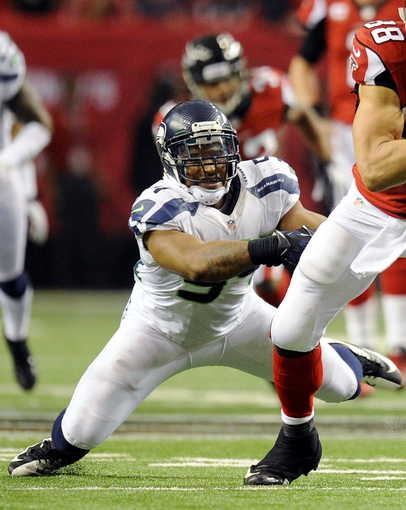 Jan 13, 2013; Atlanta, GA, USA; Seattle Seahawks middle linebacker Bobby Wagner (54) during the fourth quarter of the NFC divisional playoff game at the Georgia Dome. Falcons won 30-28. Mandatory Credit: Kevin Liles-USA TODAY Sports