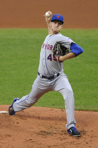 Sep 6, 2013; Cleveland, OH, USA; New York Mets starting pitcher Zack Wheeler (45) delivers in the first inning against the Cleveland Indians at Progressive Field. Mandatory Credit: David Richard-USA TODAY Sports