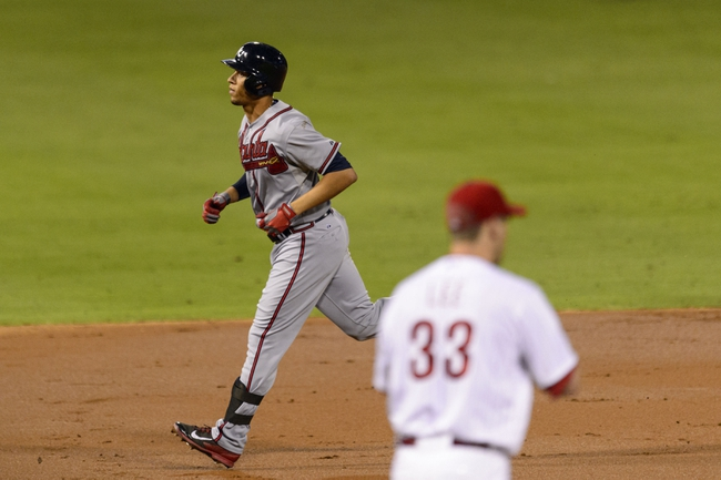 Sep 6, 2013; Philadelphia, PA, USA; Atlanta Braves shortstop Andrelton Simmons (19) rounds the bases after hitting a home run off of Philadelphia Phillies pitcher Cliff Lee (33) during the third inning at Citizens Bank Park. Mandatory Credit: Howard Smith-USA TODAY Sports