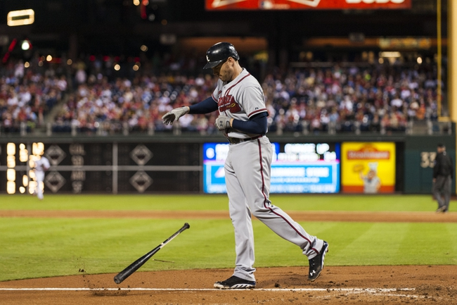 Sep 6, 2013; Philadelphia, PA, USA; Atlanta Braves first baseman Freddie Freeman (5) slams his bat into the ground after striking out during the sixth inning against the Philadelphia Phillies at Citizens Bank Park. The Phillies defeated the Braves 2-1. Mandatory Credit: Howard Smith-USA TODAY Sports