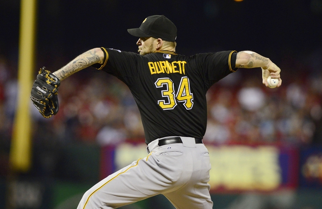 Sep 6, 2013; St. Louis, MO, USA; Pittsburgh Pirates starting pitcher A.J. Burnett (34) throws to a St. Louis Cardinals batter during the third inning at Busch Stadium. Mandatory Credit: Jeff Curry-USA TODAY Sports