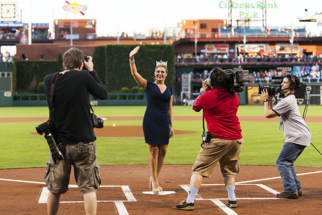 Sep 6, 2013; Philadelphia, PA, USA; Miss America Mallory Hagan is introduced prior to the start of the game between the Philadelphia Phillies and the Atlanta Braves at Citizens Bank Park. The Phillies defeated the Braves 2-1. Mandatory Credit: Howard Smith-USA TODAY Sports