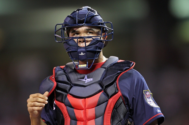 Sep 6, 2013; Minneapolis, MN, USA; Minnesota Twins catcher Josmil Pinto (43) looks on during the eighth inning against the Toronto Blue Jays at Target Field. The Blue Jays defeated the Twins 6-5. Mandatory Credit: Brace Hemmelgarn-USA TODAY Sports