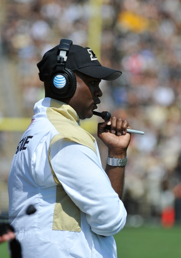 Sep 7, 2013; West Lafayette, IN, USA; Purdue Boilermakers head coach Darrell Hazell in the first half at Ross Ade Stadium. Mandatory Credit: Sandra Dukes-USA TODAY Sports