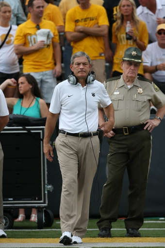 Sep 7, 2013; Iowa City, IA, USA; University of Iowa Hawkeyes head coach Kirk Ferentz watches game action against the Missouri State Bears at Kinnick Stadium.  Mandatory Credit: Reese Strickland-USA TODAY Sports