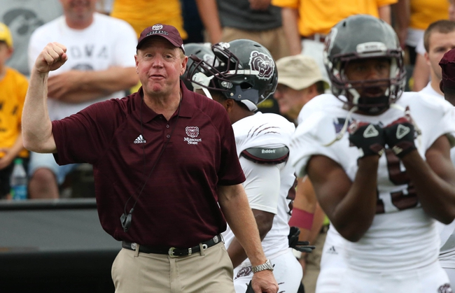 Sep 7, 2013; Iowa City, IA, USA; Missouri State Bears head coach Terry Allen motivates his team against the  Iowa Hawkeyes at Kinnick Stadium.  Mandatory Credit: Reese Strickland-USA TODAY Sports