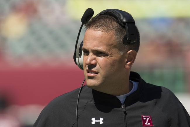 Sep 7, 2013; Philadelphia, PA, USA; Temple Owls head coach Matt Rhule along the sidelines during the second quarter against the Houston Cougars at Lincoln Financial Field. Mandatory Credit: Howard Smith-USA TODAY Sports