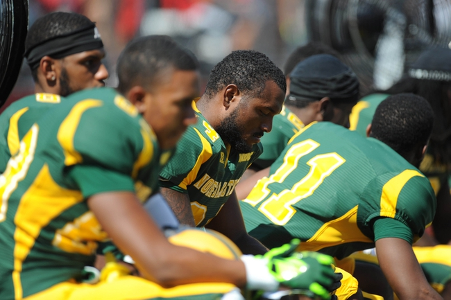 Sep 7, 2013; Piscataway, NJ, USA; Norfolk State Spartans players look on against the Rutgers Scarlet Knights during the second half at High Point Solutions Stadium. Rutgers won the game 38-0. Mandatory Credit: Joe Camporeale-USA TODAY Sports