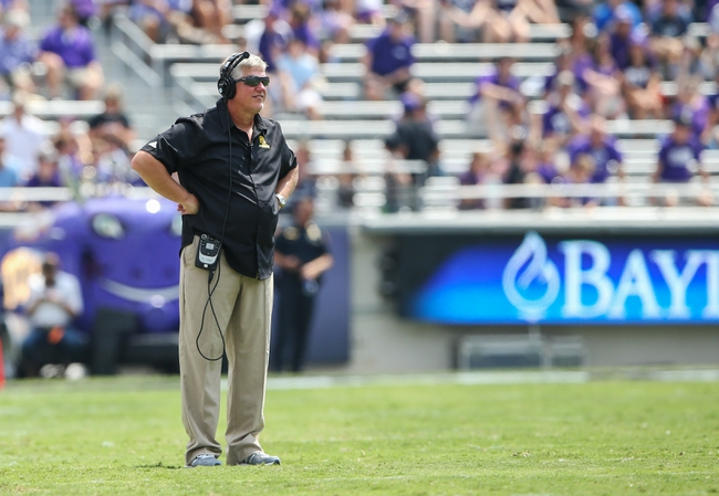 Sep 7, 2013; Fort Worth, TX, USA; Southeastern Louisiana Lions head coach Ron Roberts watches during the game against the TCU Horned Frogs at Amon G. Carter Stadium. Mandatory Credit: Kevin Jairaj-USA TODAY Sports