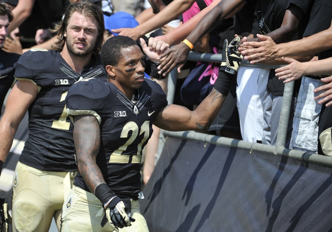 Sep 7, 2013; West Lafayette, IN, USA;  Purdue Boilermakers cornerback Ricardo Allen (21) slaps hands with the fans after the game against the Indiana State Sycamores followed by linebacker Sean Robinson (10) at Ross Ade Stadium. Mandatory Credit: Sandra Dukes-USA TODAY Sports