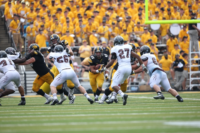 Sep 7, 2013; Iowa City, IA, USA; Iowa Hawkeyes running back Mark Weisman (45) carries the football against the Missouri State Bears at Kinnick Stadium.  Iowa beat Missouri State 28-14.  Mandatory Credit: Reese Strickland-USA TODAY Sports