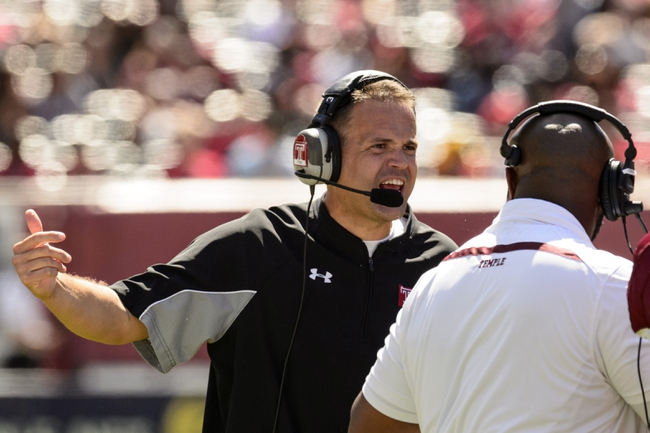 Sep 7, 2013; Philadelphia, PA, USA; Temple Owls head coach Matt Rhule along the sidelines during the second quarter against the Houston Cougars at Lincoln Financial Field. Houston defeated temple 22-13. Mandatory Credit: Howard Smith-USA TODAY Sports