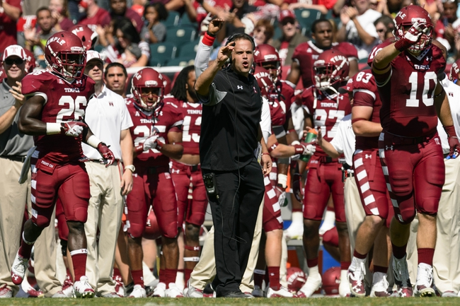 Sep 7, 2013; Philadelphia, PA, USA; Temple Owls head coach Matt Rhule along the sidelines during the third quarter against the Houston Cougars at Lincoln Financial Field. Houston defeated temple 22-13. Mandatory Credit: Howard Smith-USA TODAY Sports