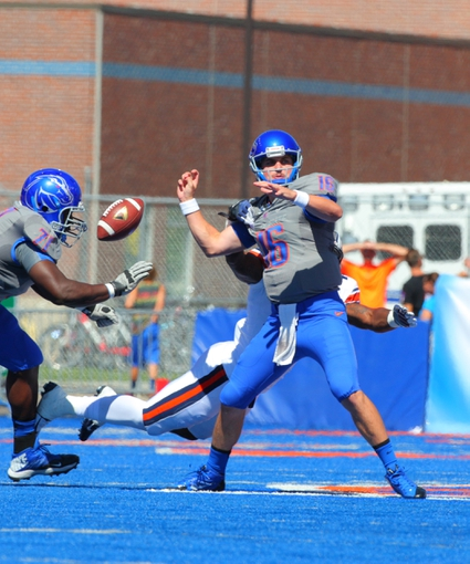 Sep 7, 2013; Boise, ID, USA; Tennessee Martin Skyhawks linebacker Caleb Counce (45) strips Boise State Broncos quarterback Joe Southwick (16) of the ball during the first half at Bronco Stadium. Mandatory Credit: Brian Losness-USA TODAY Sports