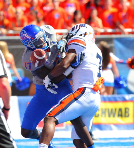 Sep 7, 2013; Boise, ID, USA; Boise State Broncos wide receiver Geraldo Boldewijn (17) has a pass broken up by Tennessee Martin Skyhawks safety J'Vontez Blackmon (7) during the first half at Bronco Stadium. Mandatory Credit: Brian Losness-USA TODAY Sports