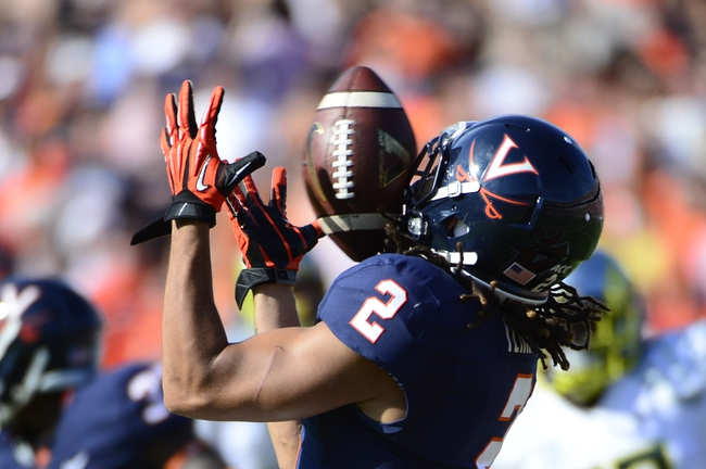 Sep 7, 2013; Charlottesville, VA, USA; Virginia Cavaliers wide receiver Dominique Terrell (2) receives a punt in the second quarter at Scott Stadium. Mandatory Credit: Bob Donnan-USA TODAY Sports