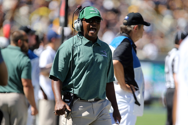Sep 7, 2013; Berkeley, CA, USA; Portland State Vikings head coach Nigel Burton calls out to the referee against the California Golden Bears during the first quarter at Memorial Stadium. Mandatory Credit: Kelley L Cox-USA TODAY Sports