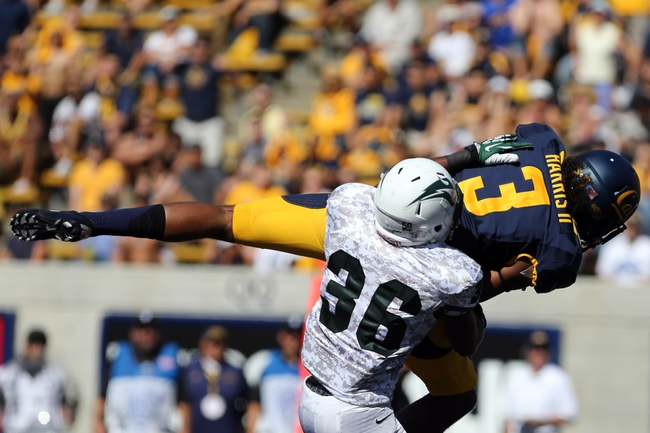 Sep 7, 2013; Berkeley, CA, USA; California Golden Bears wide receiver Maurice Harris (3) catches the ball for a touchdown ahead of Portland State Vikings cornerback Aaron Sibley (36) during the second quarter at Memorial Stadium. Mandatory Credit: Kelley L Cox-USA TODAY Sports