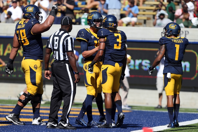 Sep 7, 2013; Berkeley, CA, USA; California Golden Bears quarterback Jared Goff (16) celebrates with wide receiver Maurice Harris (3) after his touchdown catch against the Portland State Vikings during the second quarter at Memorial Stadium. Mandatory Credit: Kelley L Cox-USA TODAY Sports