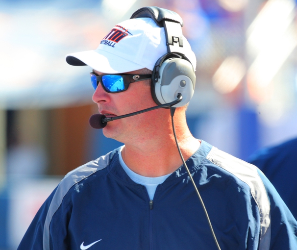 Sep 7, 2013; Boise, ID, USA; Tennessee Martin Skyhawks head coach Jason Simpson during the second half against the Boise State Broncos at Bronco Stadium.  Boise State defeated Tennessee Martin 63-14.  Mandatory Credit: Brian Losness-USA TODAY Sports