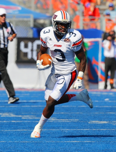 Sep 7, 2013; Boise, ID, USA; Tennessee Martin Skyhawks wide receiver Jeremy Butler (3) on an end around during the second half against the Boise State Broncos at Bronco Stadium.  Boise State defeated Tennessee Martin 63-14.  Mandatory Credit: Brian Losness-USA TODAY Sports