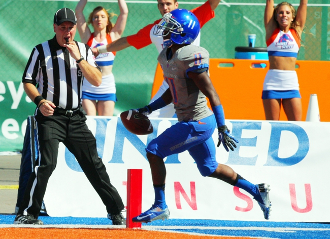 Sep 7, 2013; Boise, ID, USA; Boise State Broncos wide receiver Shane Williams-Rhodes (11) scores a touchdown during the second half against the Tennessee Martin Skyhawks at Bronco Stadium. Boise State defeated Tennessee Martin 63-14. Mandatory Credit: Brian Losness-USA TODAY Sports
