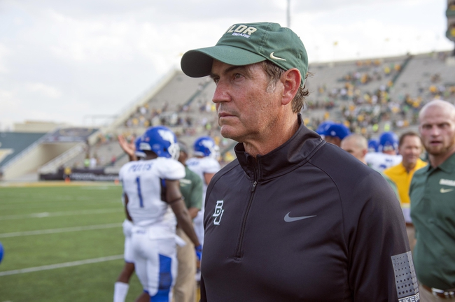 Sep 7, 2013; Waco, TX, USA; Baylor Bears head coach Art Briles come off the field after the game against the Buffalo Bulls at Floyd Casey Stadium. The Bears defeated the Bulls 70-13. Mandatory Credit: Jerome Miron-USA TODAY Sports