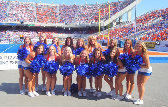 Sep 7, 2013; Boise, ID, USA; The Boise State Broncos cheer leading squad during the second half against the Tennessee Martin Skyhawks at Bronco Stadium. Boise State defeated Tennessee Martin 63-14. Mandatory Credit: Brian Losness-USA TODAY Sports