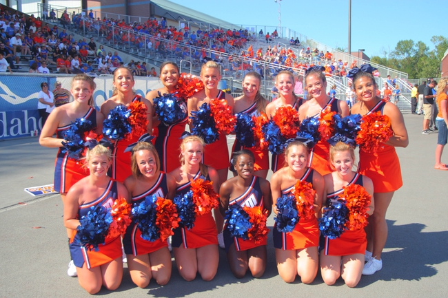 Sep 7, 2013; Boise, ID, USA; Cheer leading squad for Tennessee Martin Skyhawks  during the second half against the Boise State Broncos at Bronco Stadium.  Boise State defeated Tennessee Martin 63-14.  Mandatory Credit: Brian Losness-USA TODAY Sports