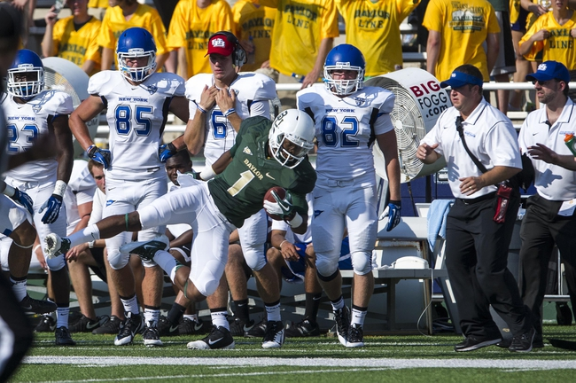 Sep 7, 2013; Waco, TX, USA; Baylor Bears wide receiver Corey Coleman (1) dives for a first down in front of the Buffalo Bulls bench during the second half at Floyd Casey Stadium. The Bears defeated the Bulls 70-13. Mandatory Credit: Jerome Miron-USA TODAY Sports