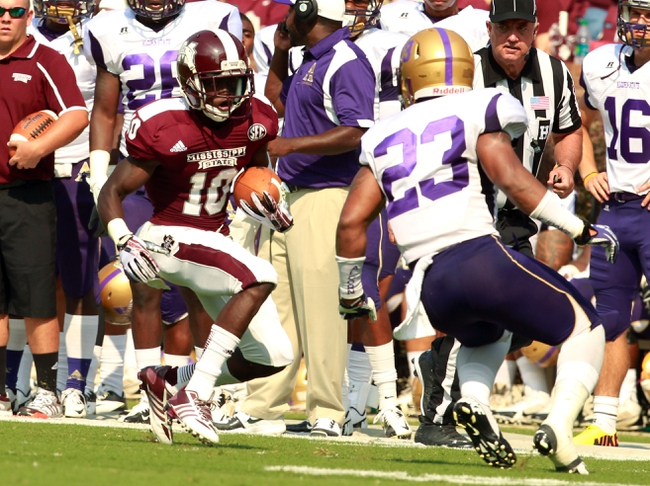 Sep 7, 2013; Starkville, MS, USA;  Mississippi State Bulldogs athlete Sam Cowart (10) carries the ball against the Alcorn State Braves at Davis Wade Stadium.  The Bulldogs defeated the Braves 51-7. Mandatory Credit: Marvin Gentry-USA TODAY Sports