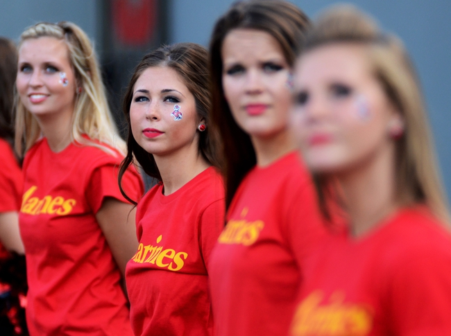 Sep 7, 2013; Raleigh, NC, USA; North Carolina State Wolfpack dancers wore military t-shirts in honor of military appreciation day against the Richmond Spiders at Carter Finley Stadium. Mandatory Credit: Rob Kinnan-USA TODAY Sports
