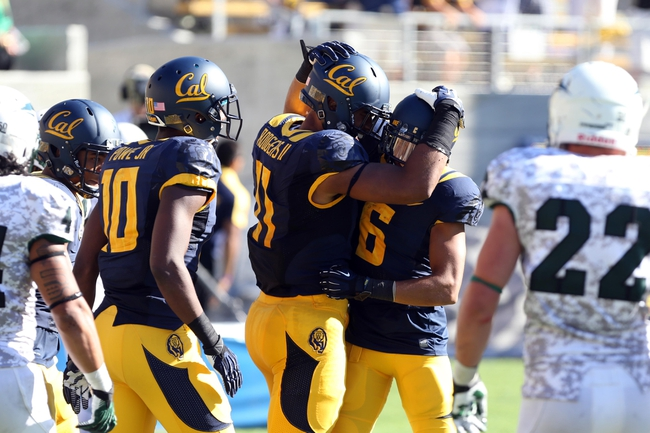 Sep 7, 2013; Berkeley, CA, USA; California Golden Bears wide receiver Richard Rodgers (11) celebrates with wide receiver Chris Harper (6) after scoring a touchdown against the Portland State Vikings during the third quarter at Memorial Stadium. Mandatory Credit: Kelley L Cox-USA TODAY Sports