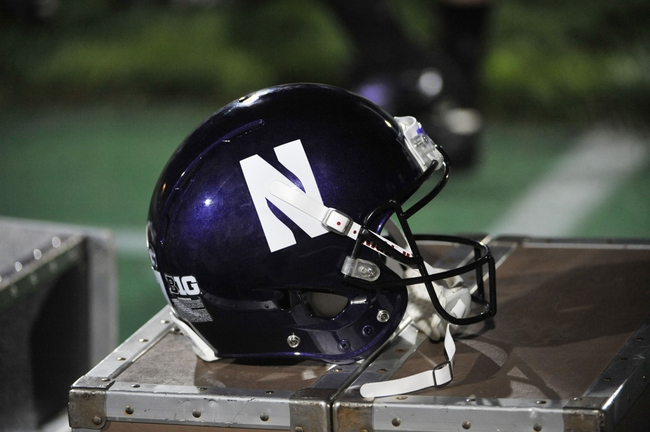 Sep 7, 2013; Evanston, IL, USA;  A detailed shot of a Northwestern Wildcats helmet during a game against the Syracuse Orange at Ryan Field. Mandatory Credit: David Banks-USA TODAY Sports