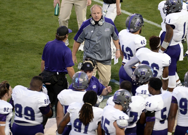 Sep 7, 2013; Boulder, CO, USA; Central Arkansas Bears head coach Clint Conque on his sidelines in the second quarter against the Colorado Buffaloes at Folsom Field. Mandatory Credit: Ron Chenoy-USA TODAY Sports