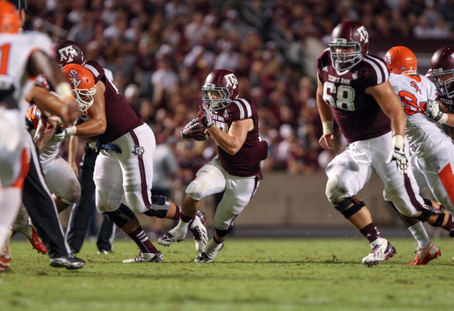 Sep 7, 2013; College Station, TX, USA; Texas A&M Aggies running back Brice Dolezal (27) rushes during the fourth quarter against the Sam Houston State Bearkats at Kyle Field. Mandatory Credit: Troy Taormina-USA TODAY Sports