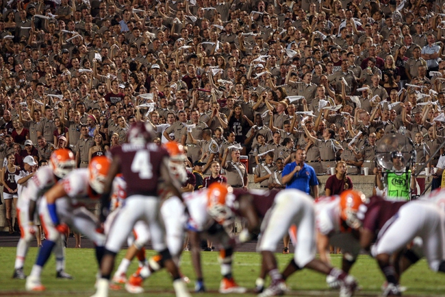 Sep 7, 2013; College Station, TX, USA; Members of the Texas A&M Aggies corps of cadets cheer during a play during the third quarter against the Sam Houston State Bearkats at Kyle Field. Mandatory Credit: Troy Taormina-USA TODAY Sports