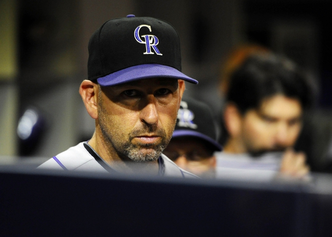 Sep 7, 2013; San Diego, CA, USA; Colorado Rockies manager Walt Weiss (22) during the eighth inning against the San Diego Padres at Petco Park. Mandatory Credit: Christopher Hanewinckel-USA TODAY Sports
