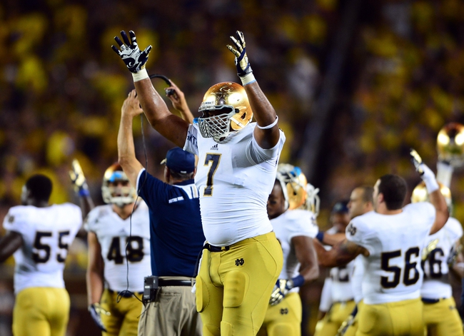 Sep 7, 2013; Ann Arbor, MI, USA; Notre Dame Fighting Irish defensive lineman Stephon Tuitt (7) celebrates after scoring a fumble recovery touchdown during the fourth quarter against the Michigan Wolverines at Michigan Stadium. Mandatory Credit: Andrew Weber-USA TODAY Sports