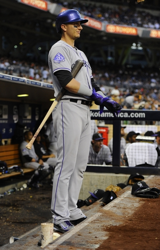 Sep 7, 2013; San Diego, CA, USA; Colorado Rockies shortstop Troy Tulowitzki (2) prior to his at bat during the eighth inning against the San Diego Padres at Petco Park. Mandatory Credit: Christopher Hanewinckel-USA TODAY Sports