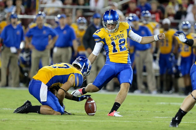 Sep 7, 2013; Stanford, CA, USA; San Jose State Spartans kicker Austin Lopez (12) kicks the field goal against the Stanford Cardinal during the second quarter at Stanford Stadium. Mandatory Credit: Kelley L Cox-USA TODAY Sports