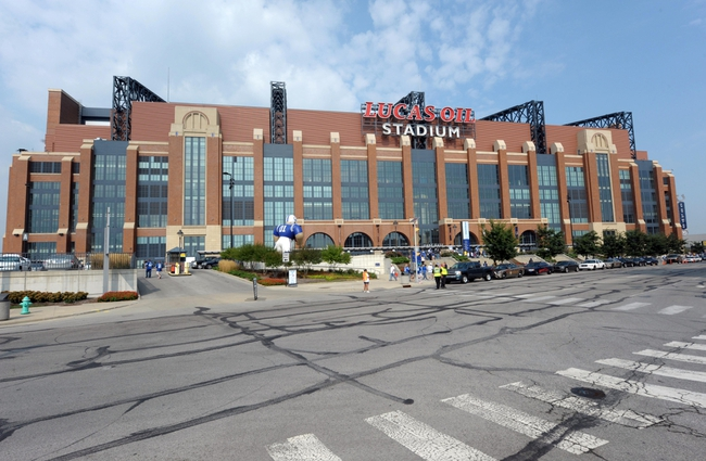 Sep 8, 2013; Indianapolis, IN, USA; General view of the Lucas Oil Stadium exterior before the NFL game between the Oakland Raiders and the Indianapolis Colts. Mandatory Credit: Kirby Lee-USA TODAY Sports