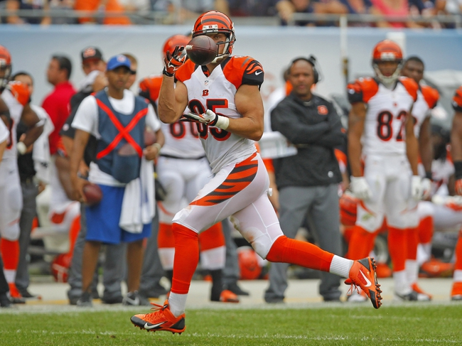 Sep 8, 2013; Chicago, IL, USA; Cincinnati Bengals tight end Tyler Eifert (85) makes a catch during the second half against the Chicago Bears at Soldier Field. Chicago won 24-21. Mandatory Credit: Dennis Wierzbicki-USA TODAY Sports