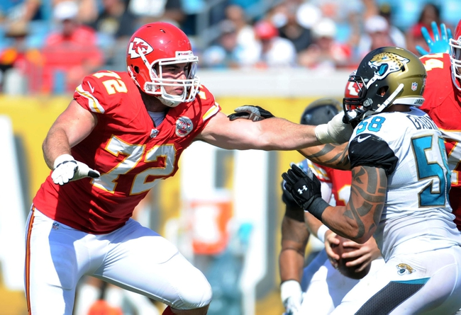 Sep 8, 2013; Jacksonville, FL, USA; Kansas City Chiefs tackle Eric Fisher (72) blocks Jacksonville Jaguars defensive end Jason Babin (58) during the game at EverBank Field. Mandatory Credit: Melina Vastola-USA TODAY Sports