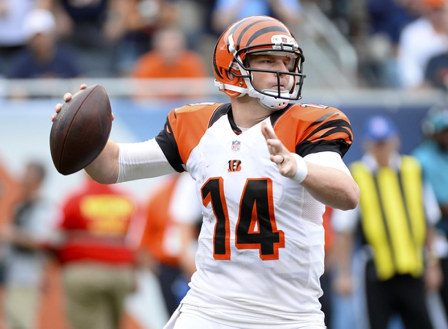 Sep 8, 2013; Chicago, IL, USA; Cincinnati Bengals quarterback Andy Dalton (14) drops back to pass against the Chicago Bears during the fourth quarter at Soldier Field. Chicago defeats Cincinnati 24-21. Mandatory Credit: Mike DiNovo-USA TODAY Sports