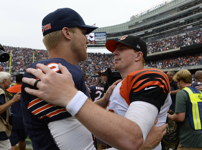 Sep 8, 2013; Chicago, IL, USA; Chicago Bears quarterback Josh McCown (12) and Cincinnati Bengals quarterback Andy Dalton (14) talk after the game at Soldier Field. Chicago defeats Cincinnati 24-21. Mandatory Credit: Mike DiNovo-USA TODAY Sports