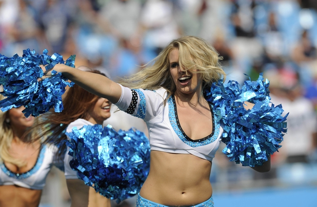 Sep 8, 2013; Charlotte, NC, USA; Carolina Panthers Top Cats perform during the game against the Seattle Seahawks at Bank of America Stadium.  Sea Hawks win 12-7. Mandatory Credit: Sam Sharpe-USA TODAY Sports