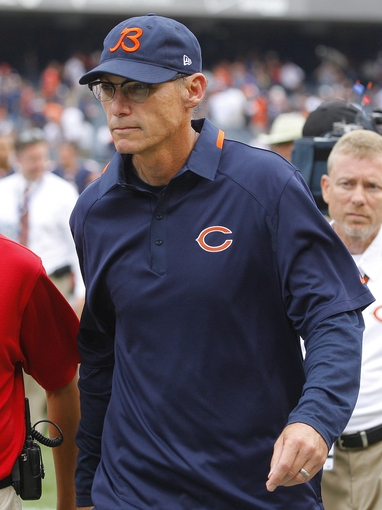 Sep 8, 2013; Chicago, IL, USA; Chicago Bears head coach Marc Trestman after a game against the Cincinnati Bengals at Soldier Field. Chicago won 24-21. Mandatory Credit: Dennis Wierzbicki-USA TODAY Sports