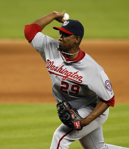 Sep 8, 2013; Miami, FL, USA;  Washington Nationals relief pitcher Rafael Soriano (29) throws the ball in the ninth inning against the Miami Marlins at Marlins Park. The Nationals won 6-4. Mandatory Credit: Robert Mayer-USA TODAY Sports
